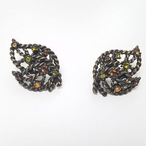 Avon Rhinestone Leaf Earrings Vintage